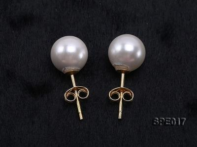 8mm white round the south seashell pearl earring with 18k GP pins SPE017 Image 3