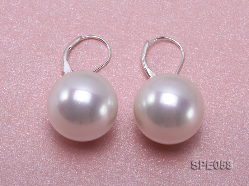 16mm white round seashell pearl leverback earrings in sterling silver  big Image 2
