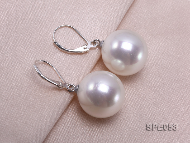 16mm white round seashell pearl leverback earrings in sterling silver  big Image 3