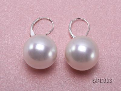16mm white round seashell pearl leverback earrings in sterling silver  SPE058 Image 2