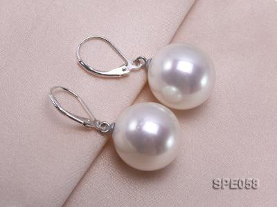 16mm white round seashell pearl leverback earrings in sterling silver  SPE058 Image 3