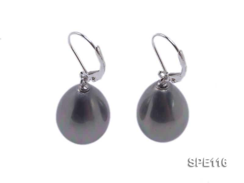 13x16mm grey teardrop seashell pearl leverback earrings in sterling silver big Image 1