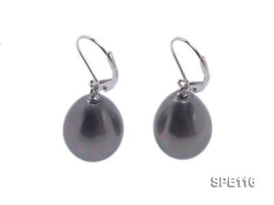 13x16mm grey teardrop seashell pearl leverback earrings in sterling silver SPE116 Image 1