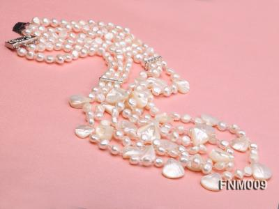 3 strand white freshwater and seashell necklace FNM009 Image 2