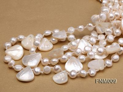 3 strand white freshwater and seashell necklace FNM009 Image 4