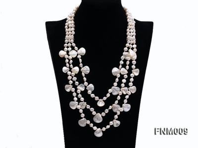 3 strand white freshwater and seashell necklace FNM009 Image 1