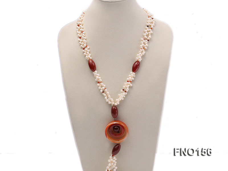 5.5x7mm white oval freshwater pearl and red and black agate necklace big Image 2