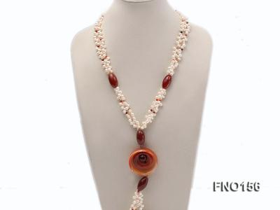 5.5x7mm white oval freshwater pearl and red and black agate necklace FNO156 Image 2
