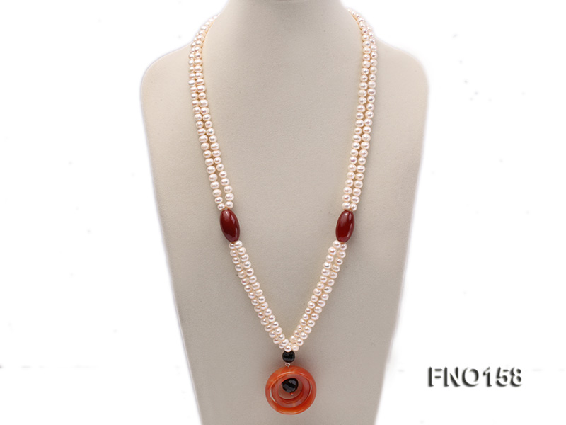 7-8mm white oval freshwater pearl and red agate necklace big Image 1