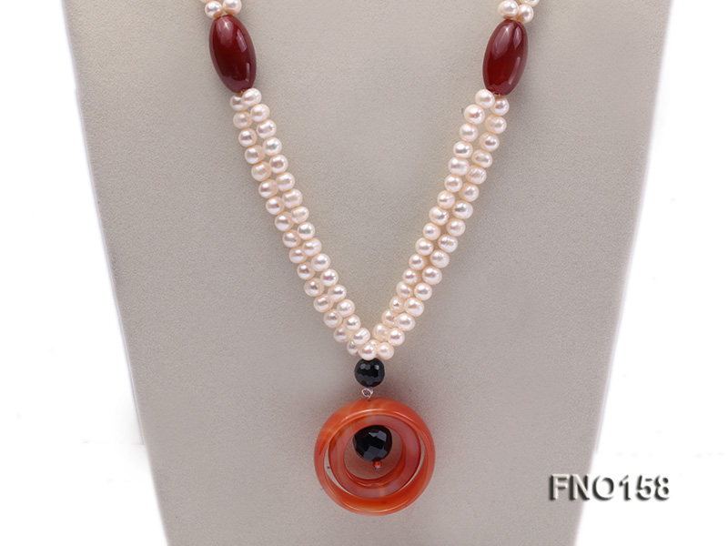 7-8mm white oval freshwater pearl and red agate necklace big Image 2