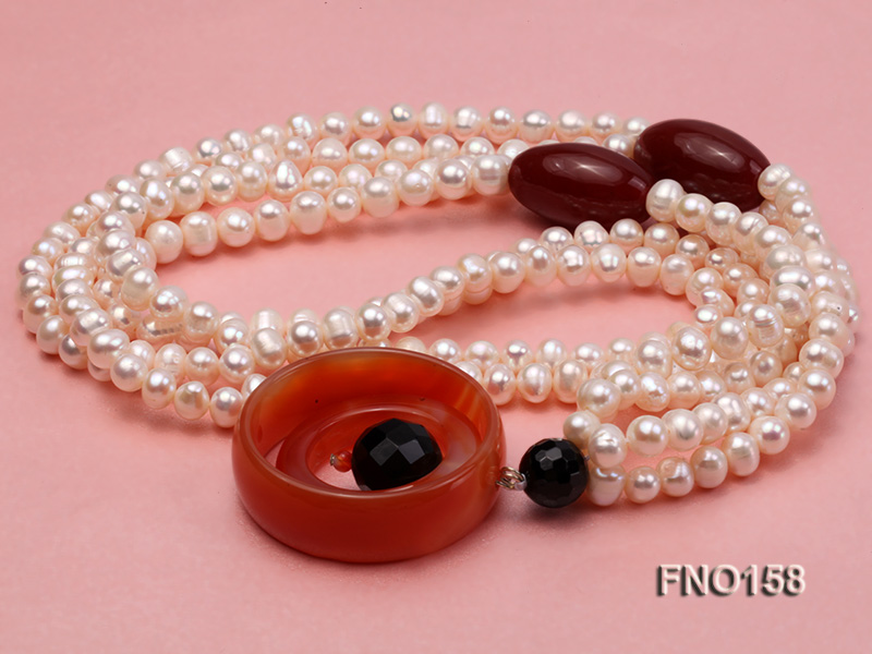 7-8mm white oval freshwater pearl and red agate necklace big Image 3