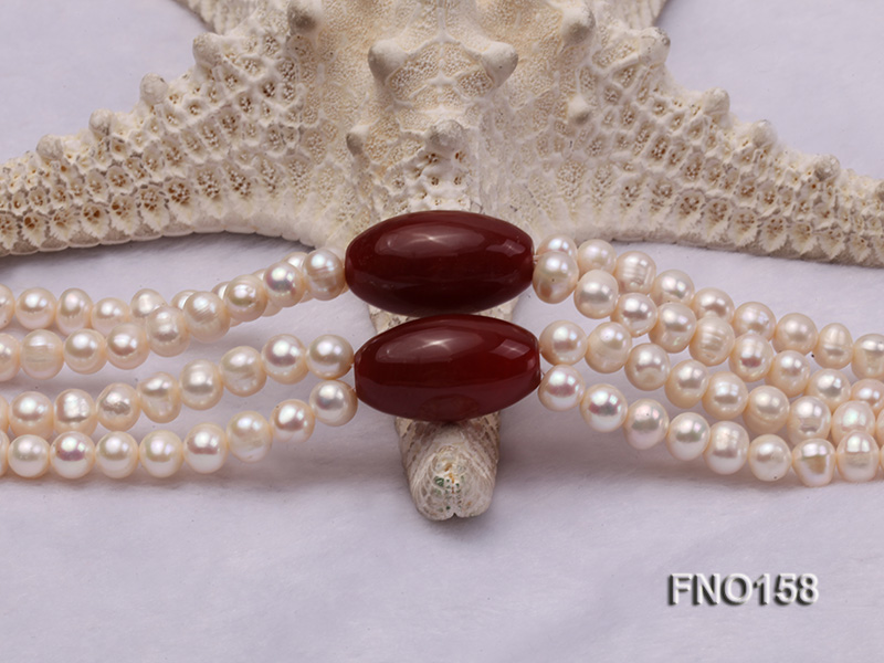 7-8mm white oval freshwater pearl and red agate necklace big Image 4