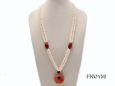 7-8mm white oval freshwater pearl and red agate necklace FNO158 Image 1