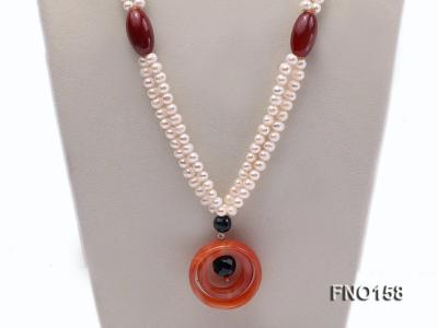 7-8mm white oval freshwater pearl and red agate necklace FNO158 Image 2