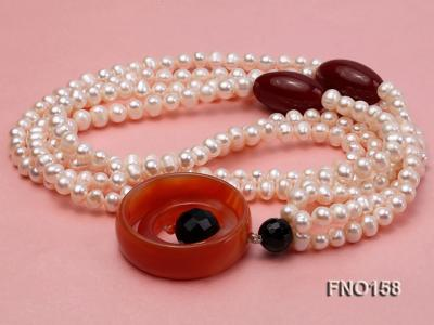 7-8mm white oval freshwater pearl and red agate necklace FNO158 Image 3