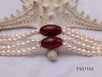 7-8mm white oval freshwater pearl and red agate necklace FNO158 Image 4