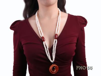 7-8mm white oval freshwater pearl and red agate necklace FNO158 Image 6