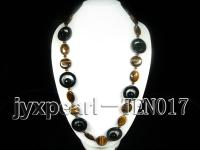 27mm button-shaped tiger-eye and agate necklace TEN017