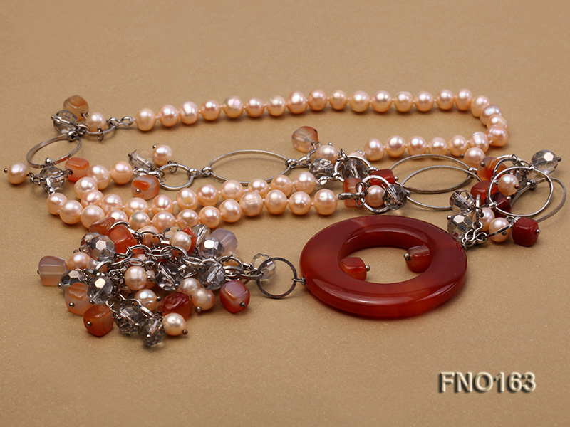 7-8mm pink round freshwater pearl and red irregular agate with chain necklace big Image 3