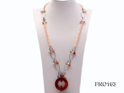 7-8mm pink round freshwater pearl and red irregular agate with chain necklace FNO163 Image 1