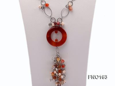 7-8mm pink round freshwater pearl and red irregular agate with chain necklace FNO163 Image 2