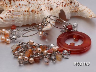 7-8mm pink round freshwater pearl and red irregular agate with chain necklace FNO163 Image 4