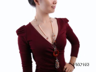 7-8mm pink round freshwater pearl and red irregular agate with chain necklace FNO163 Image 7