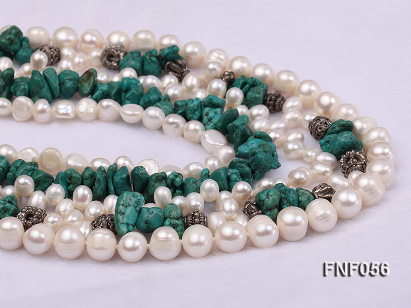Five-strand 8-9mm Freshwater Pearl and Turquoise Chips Necklace big Image 3