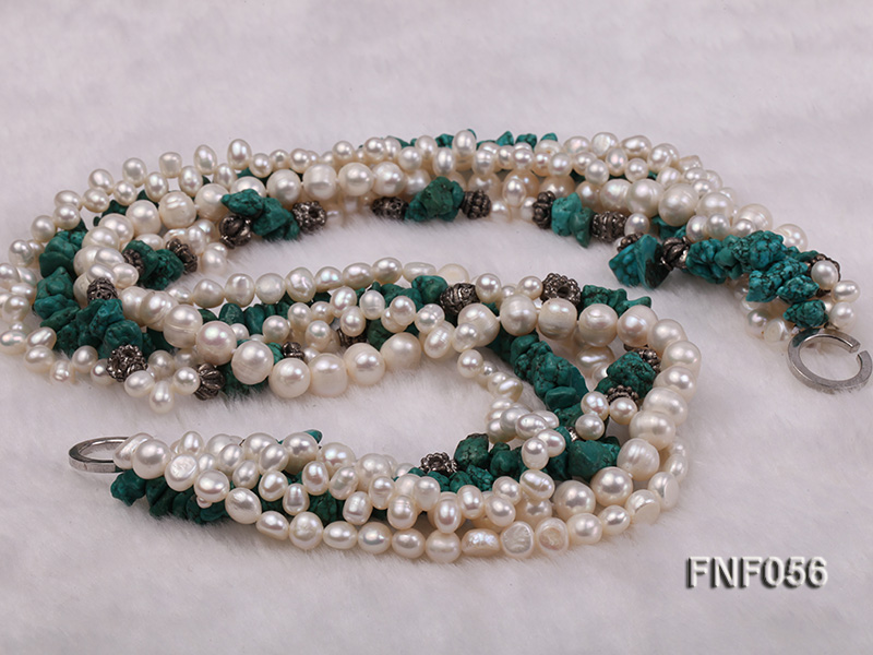 Five-strand 8-9mm Freshwater Pearl and Turquoise Chips Necklace big Image 4