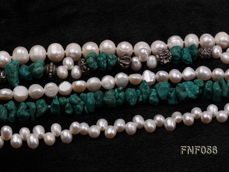 Five-strand 8-9mm Freshwater Pearl and Turquoise Chips Necklace big Image 5