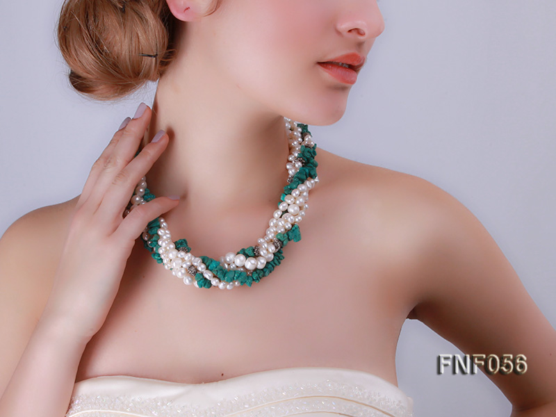 Five-strand 8-9mm Freshwater Pearl and Turquoise Chips Necklace big Image 6