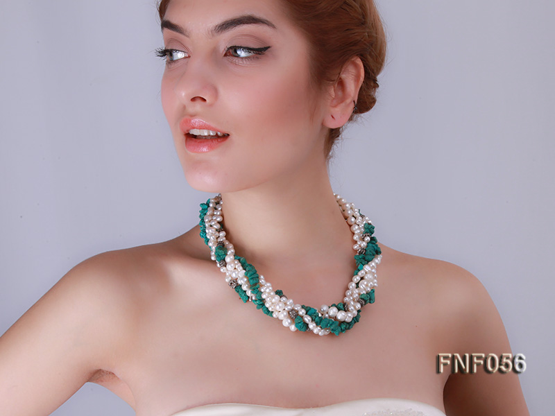 Five-strand 8-9mm Freshwater Pearl and Turquoise Chips Necklace big Image 8