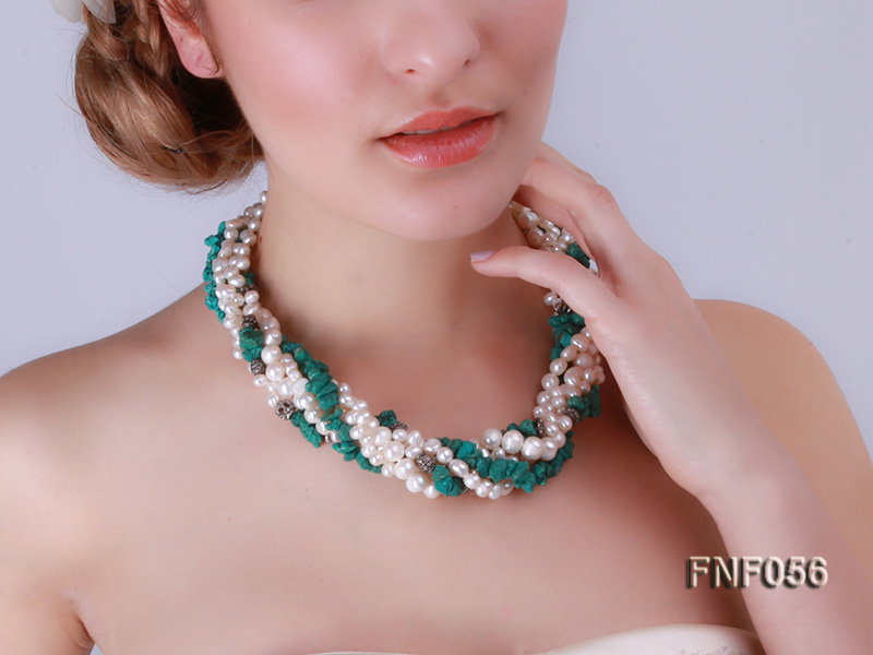 Five-strand 8-9mm Freshwater Pearl and Turquoise Chips Necklace big Image 9