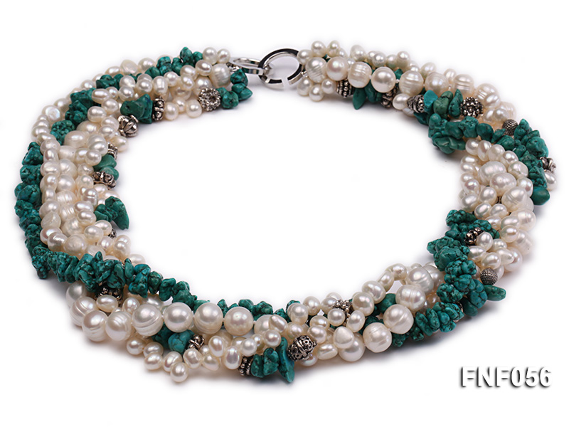 Five-strand 8-9mm Freshwater Pearl and Turquoise Chips Necklace big Image 1