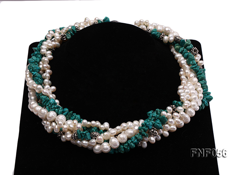 Five-strand 8-9mm Freshwater Pearl and Turquoise Chips Necklace big Image 10