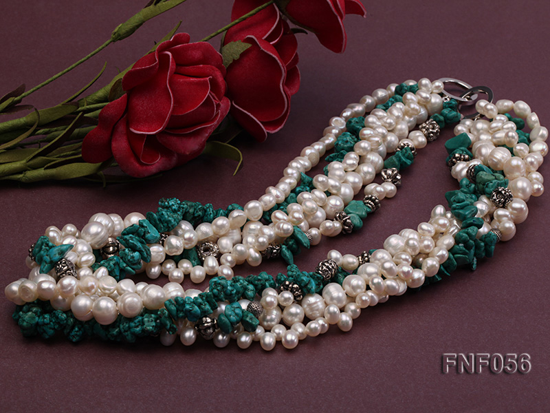 Five-strand 8-9mm Freshwater Pearl and Turquoise Chips Necklace big Image 2