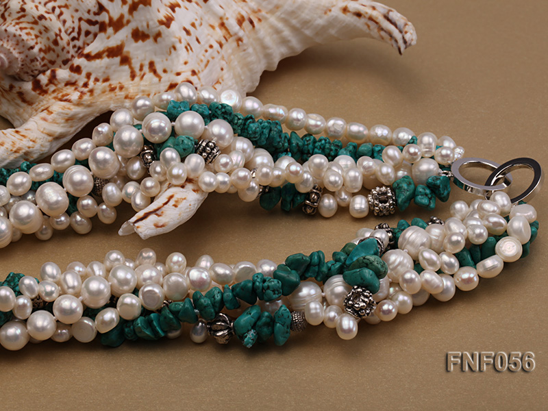 Five-strand 8-9mm Freshwater Pearl and Turquoise Chips Necklace big Image 11