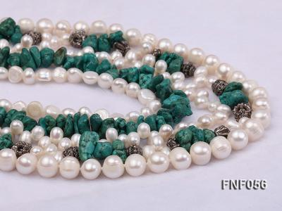 Five-strand 8-9mm Freshwater Pearl and Turquoise Chips Necklace FNF056 Image 3