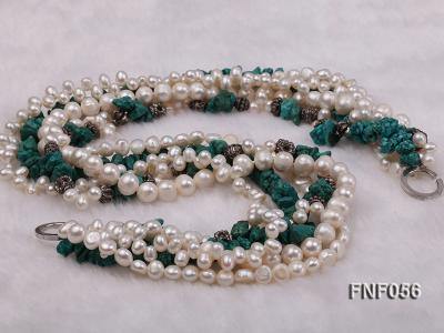 Five-strand 8-9mm Freshwater Pearl and Turquoise Chips Necklace FNF056 Image 4