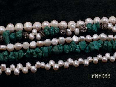 Five-strand 8-9mm Freshwater Pearl and Turquoise Chips Necklace FNF056 Image 5