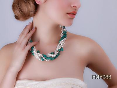 Five-strand 8-9mm Freshwater Pearl and Turquoise Chips Necklace FNF056 Image 6