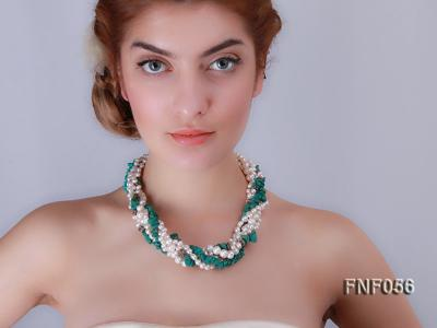 Five-strand 8-9mm Freshwater Pearl and Turquoise Chips Necklace FNF056 Image 7
