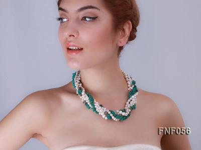 Five-strand 8-9mm Freshwater Pearl and Turquoise Chips Necklace FNF056 Image 8