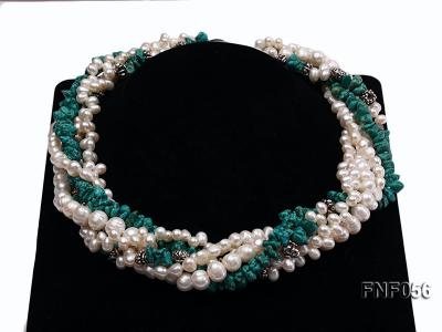 Five-strand 8-9mm Freshwater Pearl and Turquoise Chips Necklace FNF056 Image 10