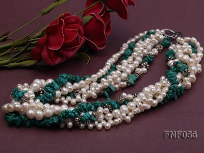 Five-strand 8-9mm Freshwater Pearl and Turquoise Chips Necklace FNF056 Image 2