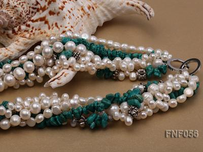 Five-strand 8-9mm Freshwater Pearl and Turquoise Chips Necklace FNF056 Image 11
