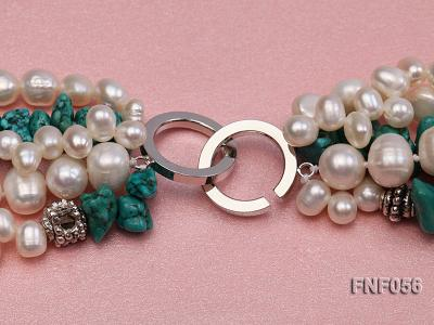 Five-strand 8-9mm Freshwater Pearl and Turquoise Chips Necklace FNF056 Image 12