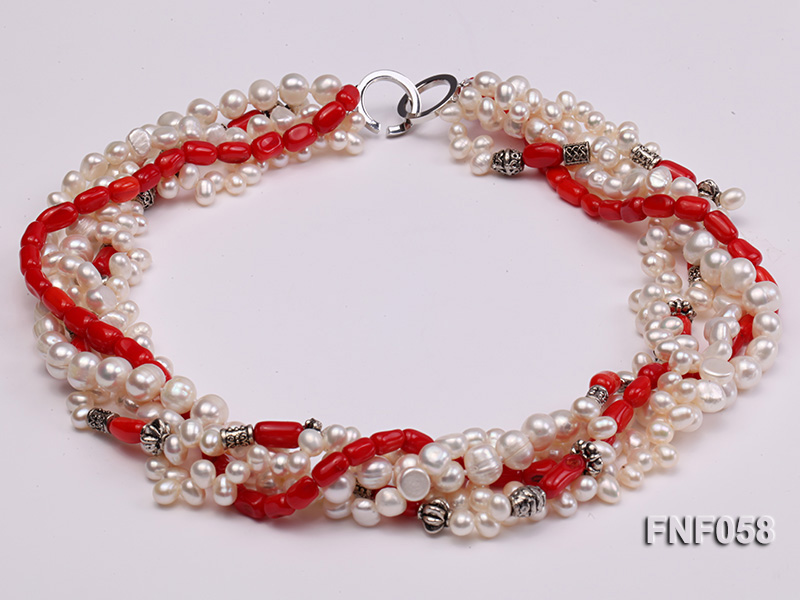 Five-strand 8-9mm Freshwater Pearl and Red Coral Beads Necklace big Image 1