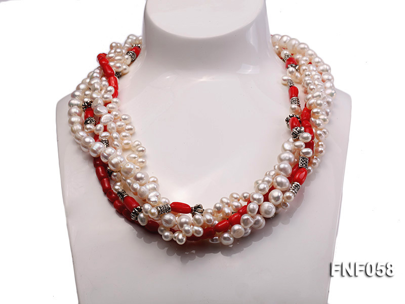 Five-strand 8-9mm Freshwater Pearl and Red Coral Beads Necklace big Image 2