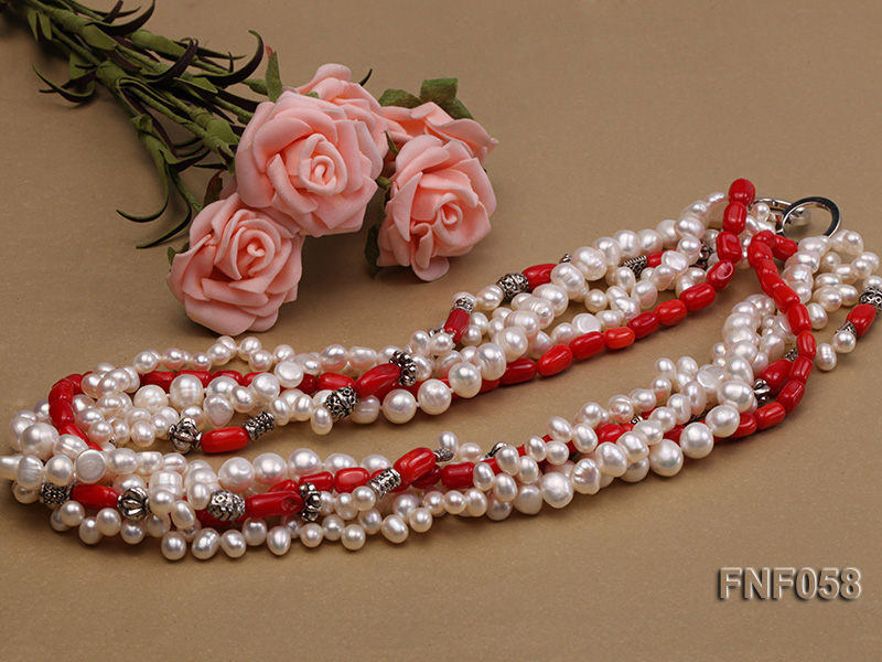 Five-strand 8-9mm Freshwater Pearl and Red Coral Beads Necklace big Image 3